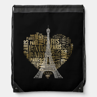 Tower & Inscriptions Paris in Heart Drawstring Backpack