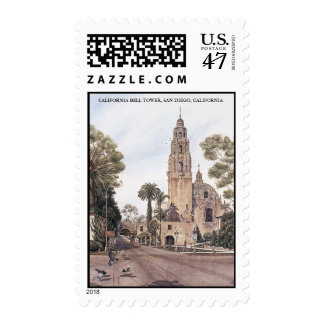 TOWER JPEC, CALIFORNIA BELL TOWER, SAN DIEGO, C... POSTAGE STAMP