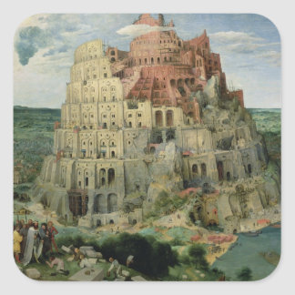 Tower of Babel, 1563 (oil on panel) Square Sticker