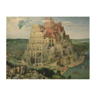 Tower of Babel, 1563 (oil on panel) Wood Wall Art