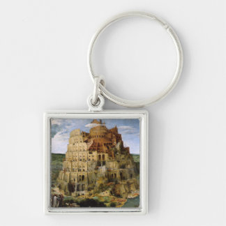 Tower of Babel - 1563 Silver-Colored Square Keychain