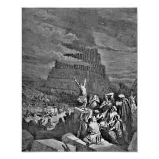 Tower of Babel Bible Gustave Dore Illustration Poster