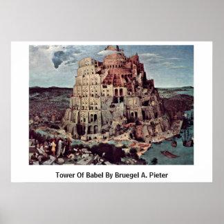 Tower Of Babel By Bruegel A. Pieter Poster