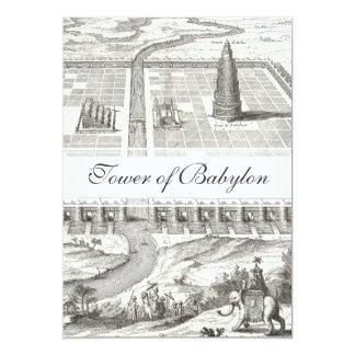 Tower of Babel, Hanging Gardens of Babylon Vintage 5x7 Paper Invitation Card