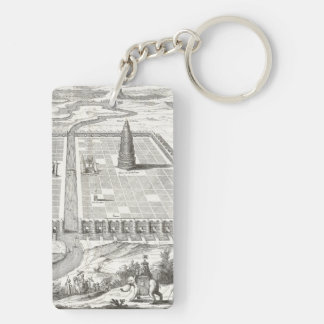 Tower of Babel, Hanging Gardens of Babylon Vintage Keychain