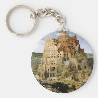 Tower of Babel - Peter Bruegel Basic Round Button Keychain