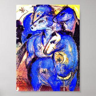 Tower of Blue Horses Art Poster Print