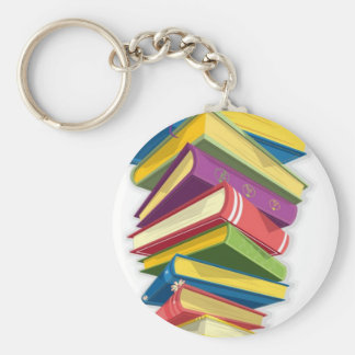 tower of books basic round button keychain