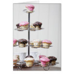 Tower of cupcakes or patty cakes greeting card