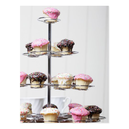 Tower of cupcakes or patty cakes postcard