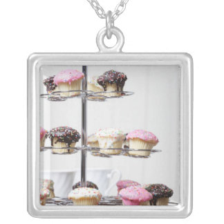 Tower of cupcakes or patty cakes silver plated necklace