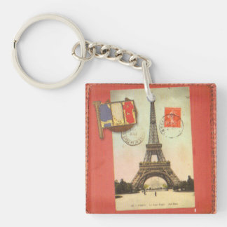 Tower of Eiffel Single-Sided Square Acrylic Keychain