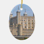 TOWER OF LONDON 2 Double-Sided OVAL CERAMIC CHRISTMAS ORNAMENT