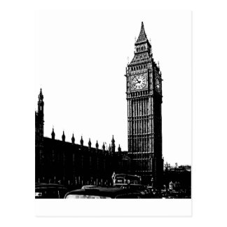 Tower of London Big Ben Black and White Photograph Postcard