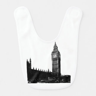 Tower of London Big Ben Black and White Photograph Baby Bib