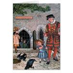 """Tower of London Ravens"" Vintage Illustration Greeting Card"