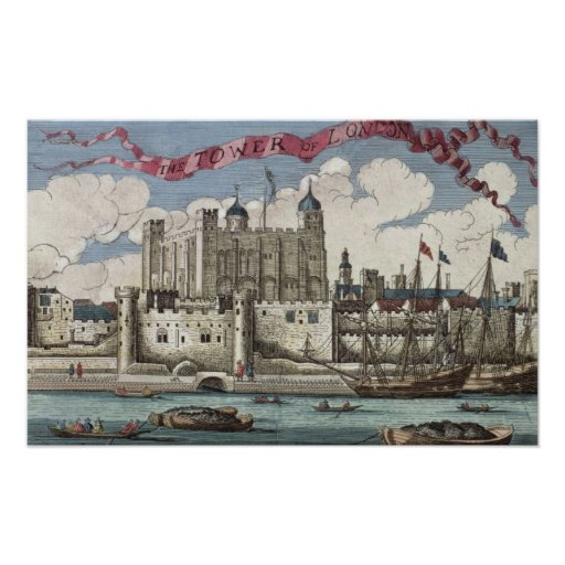 Tower of London Seen from the River Thames Poster