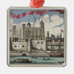 Tower of London Seen from the River Thames Square Metal Christmas Ornament