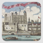 Tower of London Seen from the River Thames Square Sticker
