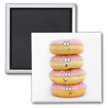 tower of pink doughnut characters magnet