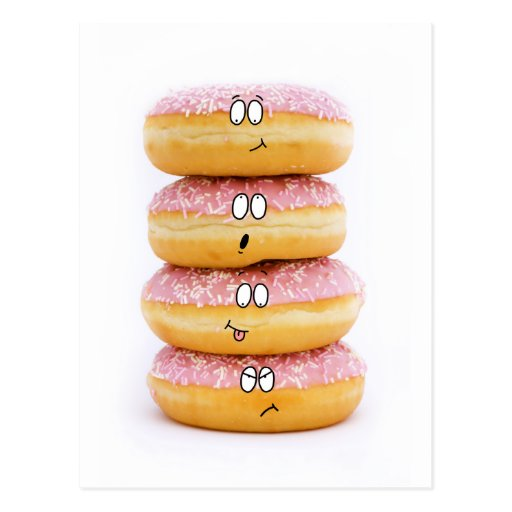 tower of pink doughnut characters postcard