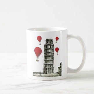 Tower of Pisa and Red Hot Air Balloons Coffee Mug