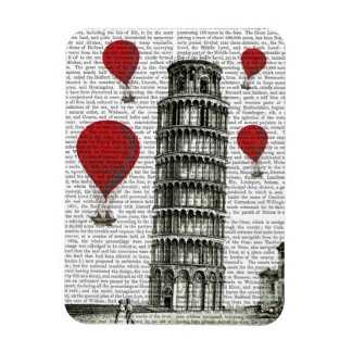 Tower of Pisa and Red Hot Air Balloons Magnet