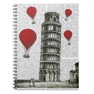 Tower of Pisa and Red Hot Air Balloons Notebook