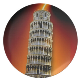 Tower of Pisa Energy Party Plate