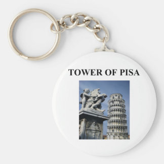tower of pisa italy basic round button keychain