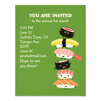 Tower of Sushi - A Stack of Fun Sushi Friends 4.25x5.5 Paper Invitation Card