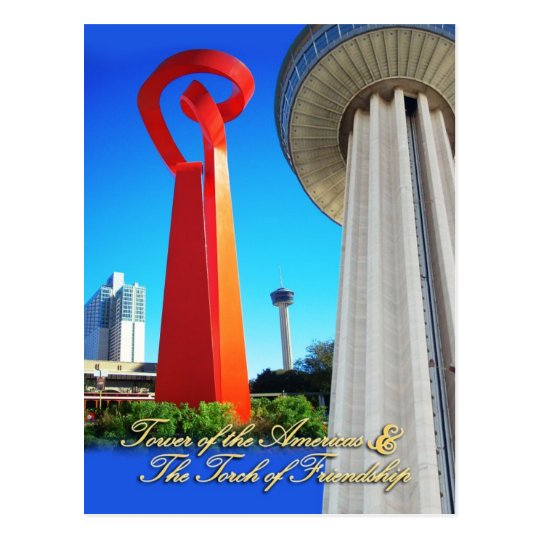 Tower of the Americas & Torch of Friendship, TX Postcard