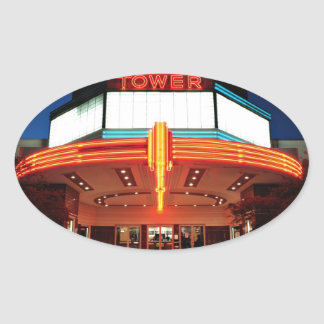 Tower Theater, Sacramento, California Oval Sticker