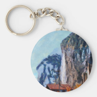 Towering cliffs and houses basic round button keychain