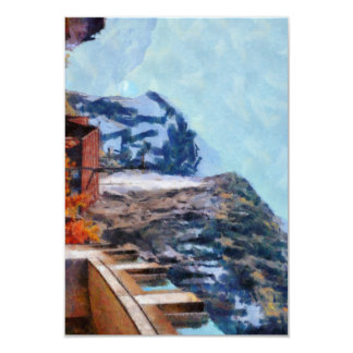 Towering cliffs and houses card
