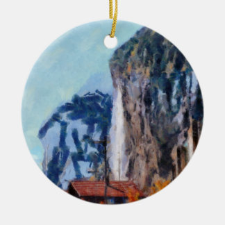 Towering cliffs and houses ceramic ornament