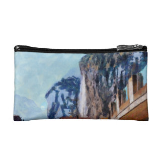 Towering cliffs and houses cosmetic bag