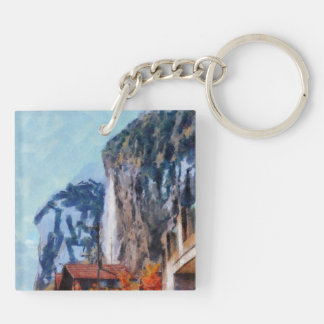 Towering cliffs and houses Double-Sided square acrylic keychain