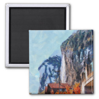 Towering cliffs and houses magnet
