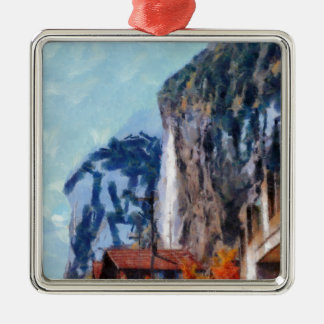 Towering cliffs and houses metal ornament