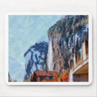 Towering cliffs and houses mouse pad