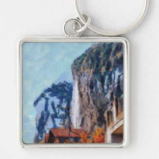 Towering cliffs and houses Silver-Colored square keychain