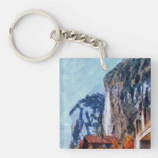 Towering cliffs and houses Single-Sided square acrylic keychain