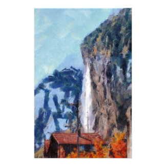 Towering cliffs and houses stationery