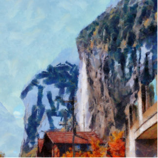 Towering cliffs and houses statuette