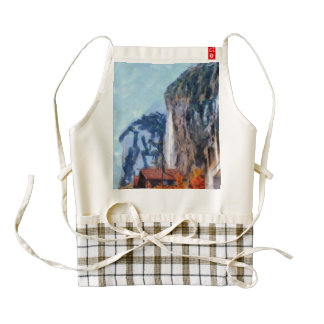 Towering cliffs and houses zazzle HEART apron