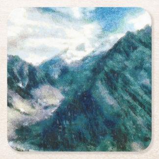 Towering Himalayan mountains Square Paper Coaster