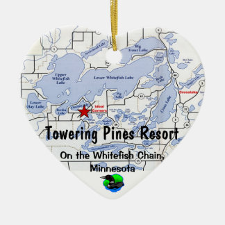 Towering Pines Resort with Whitefish Chain Map Ceramic Ornament