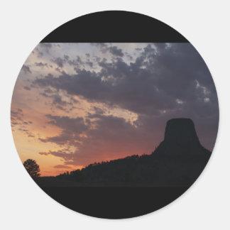 Towering Sunset Classic Round Sticker