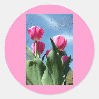 Towering Tulips Classic Round Sticker